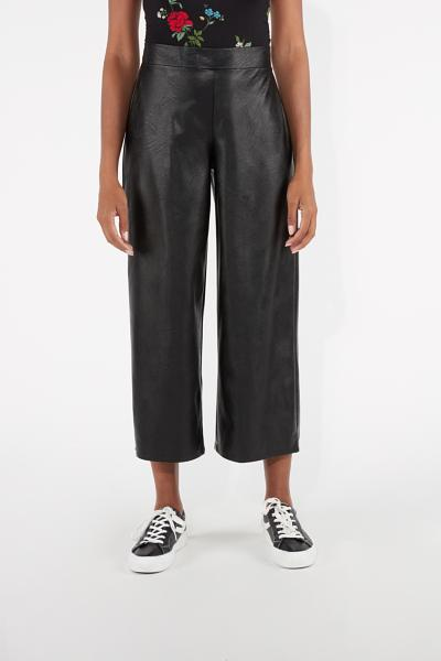 Leather-Effect Cropped Trousers