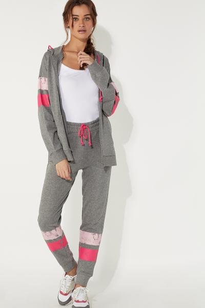 Fleece Jogging Pants with Printed Bands