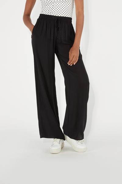 Viscose-Fabric Palazzo Pants with Drawstring Detail