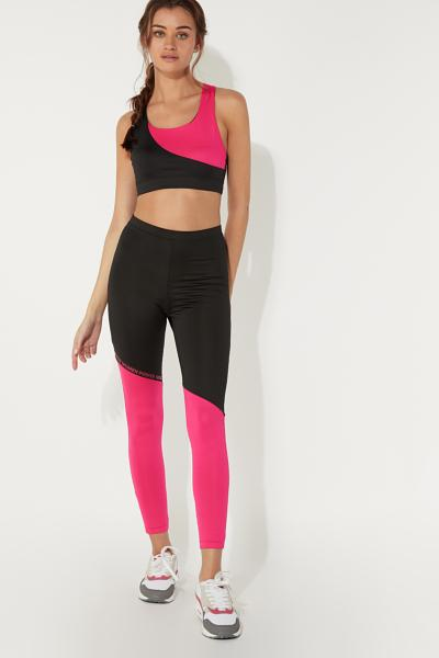 Bicolour Sports Leggings with Writing Detail