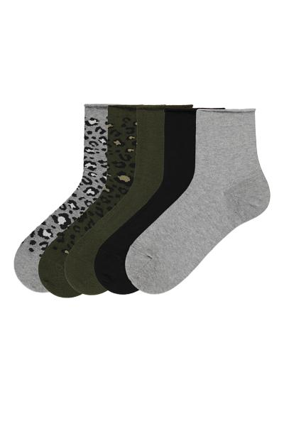 5 X Print-Detail No-Cuff Cotton Sock