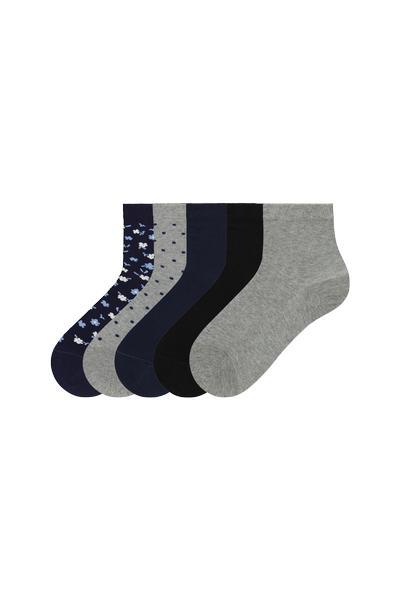 Vzorované Bavlnené Ponožky, 5 Párov