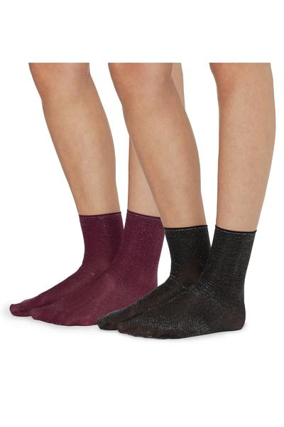 2 X Opaque Lamé Socks
