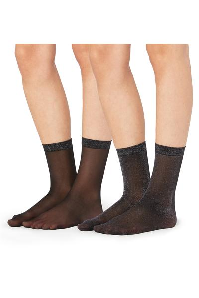 2 X Opaque Lamé Socks with Cuff