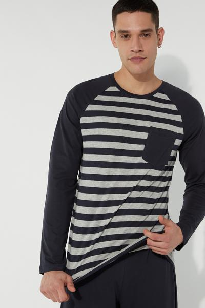 Long Striped Pyjamas with Breast Pocket