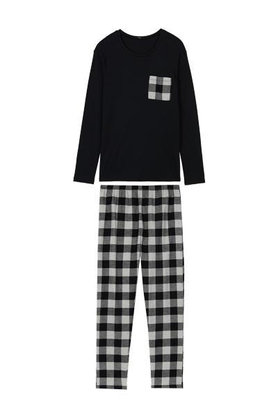 Langer Pyjama mit Glencheck-Tasche