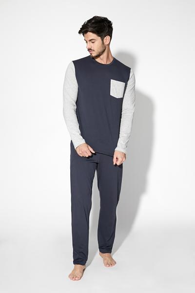 Basic Long Pyjamas with Breast Pocket