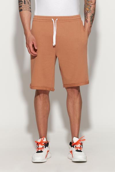 Shorts in Felpa con Risvolto