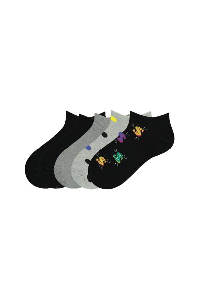 5 X Printed Cotton Low Cut Socks