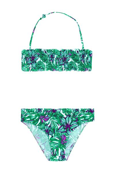 Girl's Tropical Smocked Bandeau Bikini