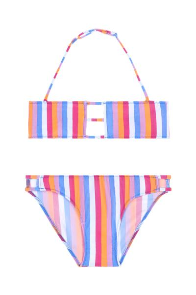 Girl's Rainbow Bandeau Bikini with Bar Inserts