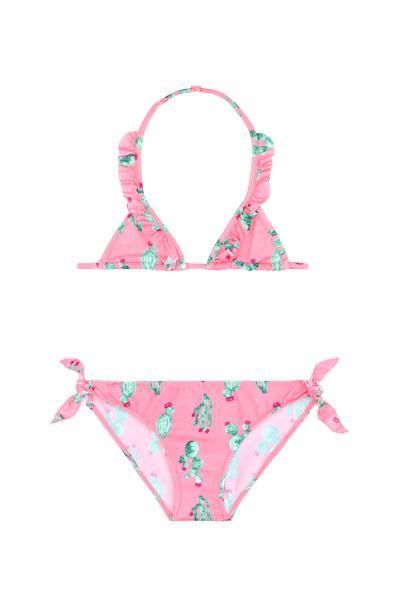 Girl's Cactus Triangle Bikini with Ruffle