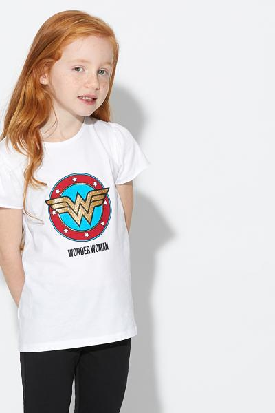 Kurzärmeliges Baumwollshirt Wonder Woman