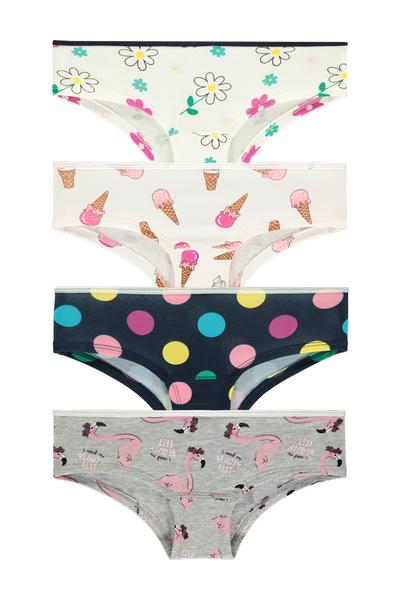 4 X Cotton Hipsters with Print Pattern