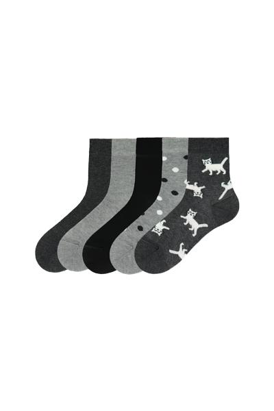 5 X Patterned Lightweight Short Cotton Sock