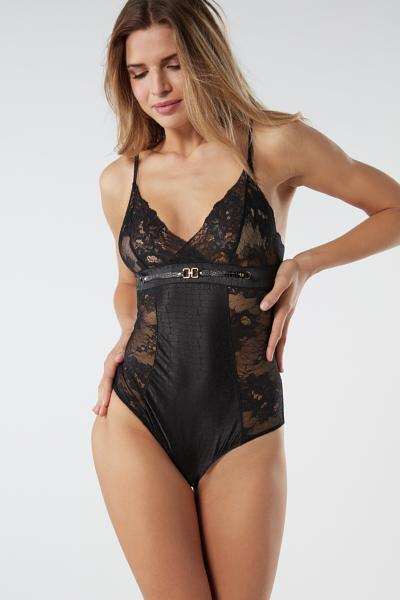 I Am Fabulous Jacquard Satin and Lace Bodysuit