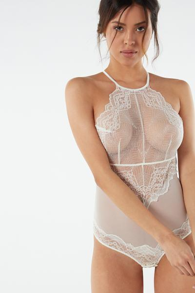 Lady Sheer Lace and Tulle Bodysuit