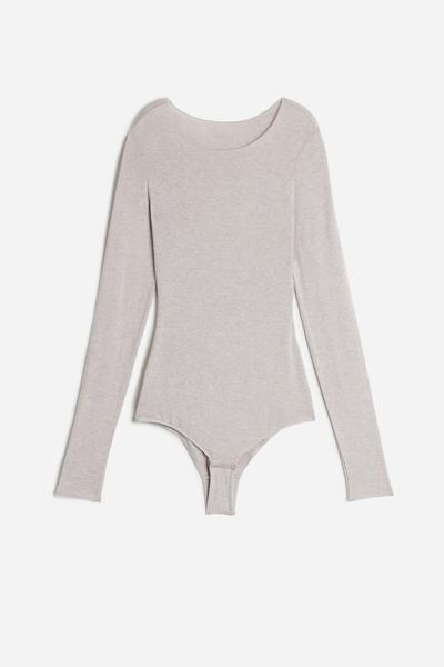 Long-Sleeve Bodysuit in Modal and Cashmere