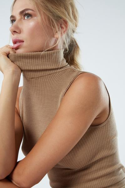 Wool and Silk Tubular Rib-Knit High-Neck Top