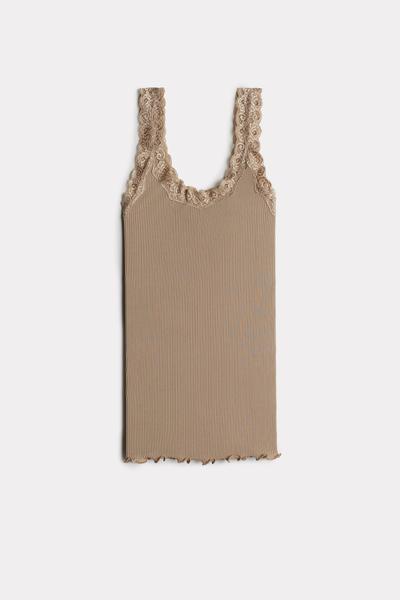 Top sem mangas em seda com decote em renda