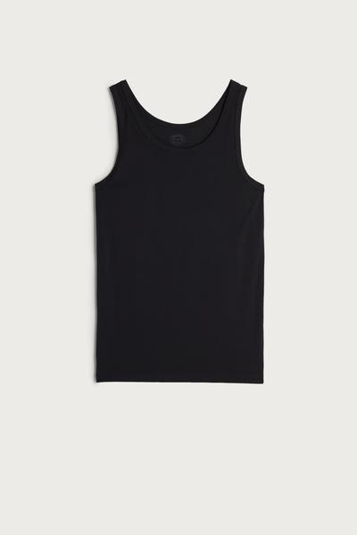Sleeveless Vest Top with Round Neck
