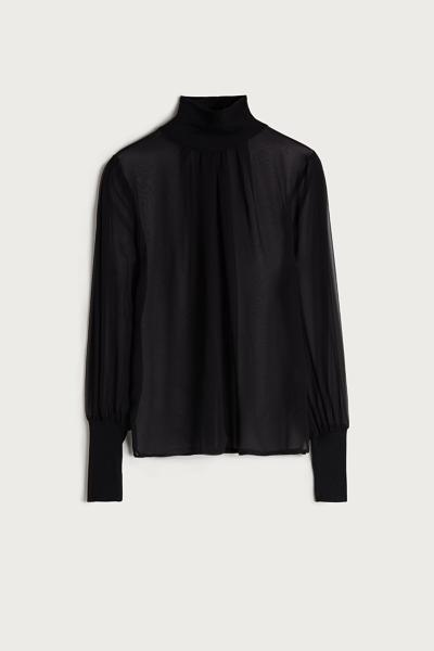 Puff Sleeved Turtleneck Silk Shirt