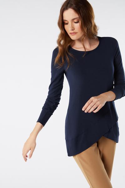 Long-Sleeved Micromodal Wraparound Hemline Shirt