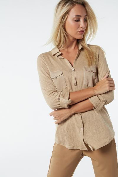 3/4 Sleeve Linen Top with Toggles