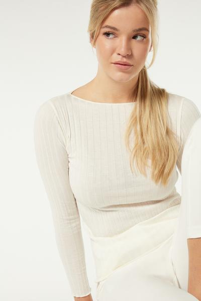Long-Sleeved Tubular Boat-Neck Cotton/Silk Jumper
