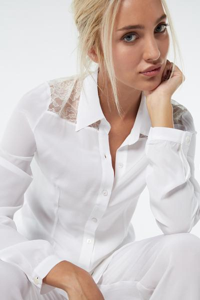 Long-Sleeved Silk Shirt with Lace Inserts