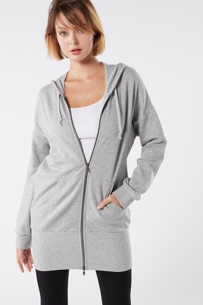 Baumwoll-Pullover mit Kapuze und Reißverschluss