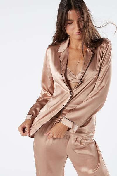 Mannish-Cut Jacket in Silk Satin