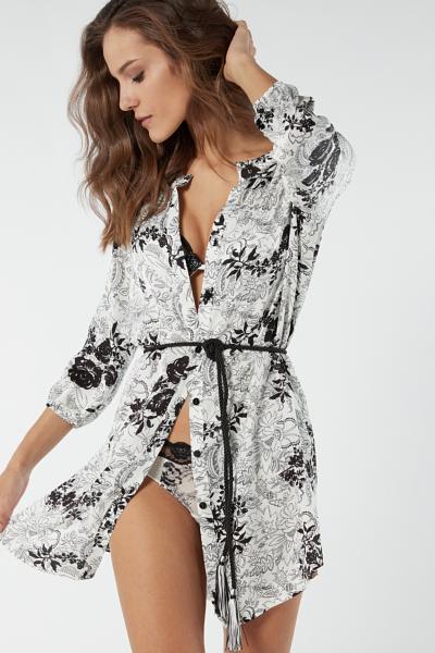 Hemdblusenkleid aus Viskosesatin Dots Bouquet