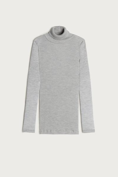 Camisola Manga Comprida em Lã e Seda Gola Alta
