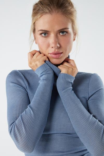 Wool and Silk Long-sleeve High-Neck Tubular Top