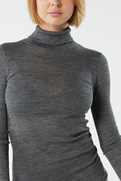 Long-sleeve High-Neck Tubular Top in Wool and Silk