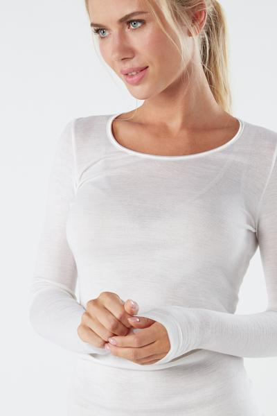 Long-sleeve Round-Neck Wool and Silk Top