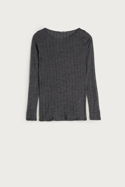 Wool and Silk Ribbed Boat-neck Shirt