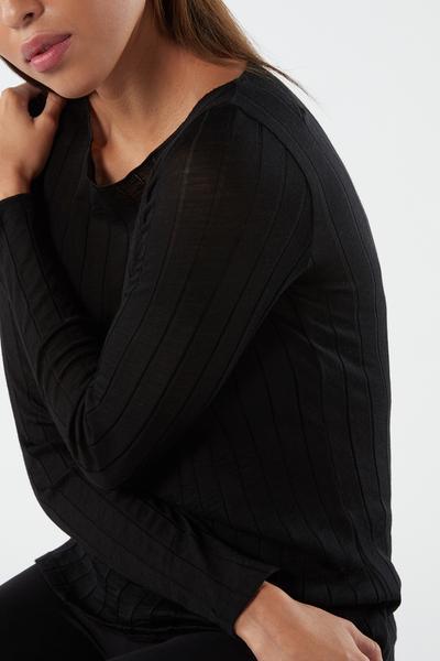 Chemise à Col Bateau en Laine et Soie Côtelées