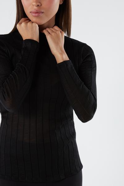 Long-sleeved Wool And Silk Turtleneck