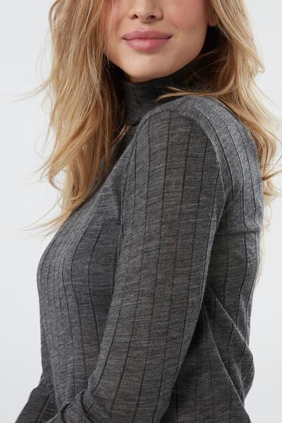 Camisola de Gola Alta Manga Comprida Lã e Seda