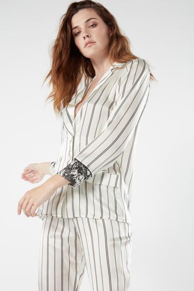 Parte de Cima de Pijama em Seda Floral Pinstripe