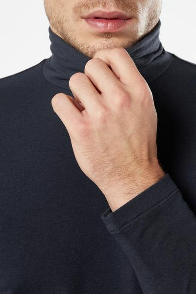 Long-Sleeved Cotton and Cashmere Polo-Neck Top