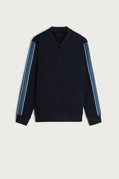 Stripe Bomber Collar Zipped Fleece