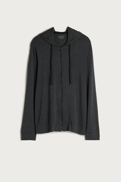 Silk and Modal Sweatshirt with Hood and Zip