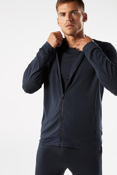 Silk and Modal Zip-Up Sweatshirt