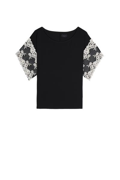 Pretty Flowers Modal and Lace Short-Sleeve Top
