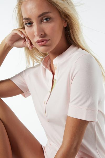 Short-Sleeved Cotton and Modal Piqué Top