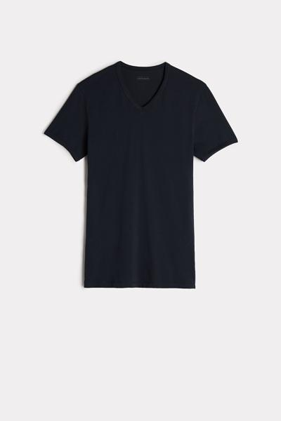 T-shirt Col en V et en Coton Élastique