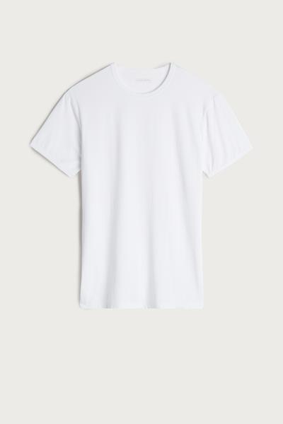 T-Shirt mit kurzem Arm und Rundhalsausschnitt aus Mikrofaser